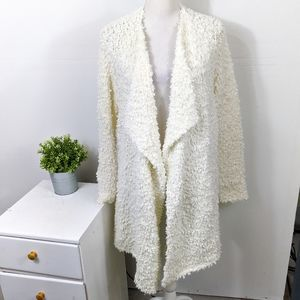 1 State White Draped Front Poodle Cardigan Sweater